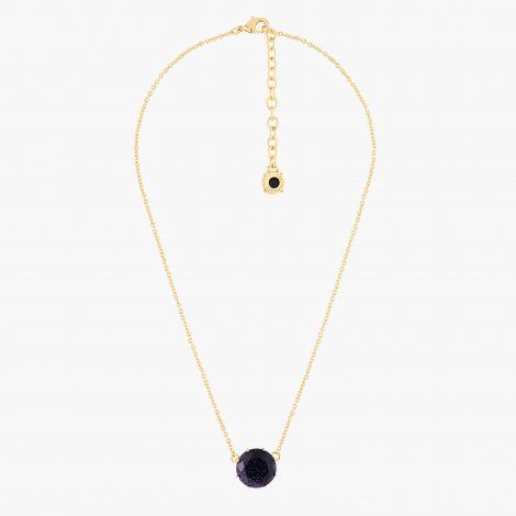 Diamantine round stone pendant necklace Midnight blue glitter La diamantine