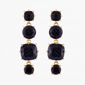 Boucles d'oreilles tiges 4 pierres la Diamantine Bleu nuit pailleté La diamantine -
