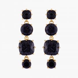 Diamantine square 4 stones post earrings Midnight blue glitter La diamantine -