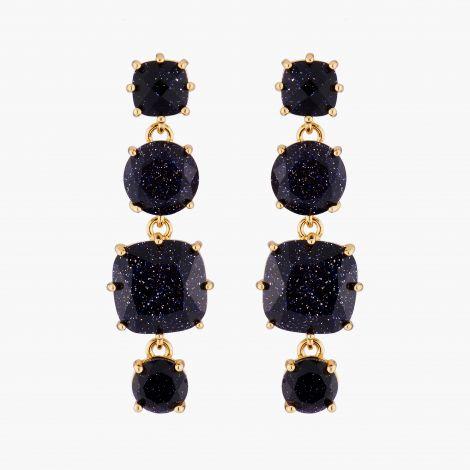 Diamantine square 4 stones post earrings Midnight blue glitter La diamantine