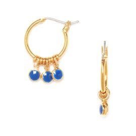 Boucles d'oreilles mini créoles 3 pampilles bleues Klein Confettis - Olivolga