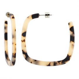 Large Square Hoops in Blonde Tortoise - Machete