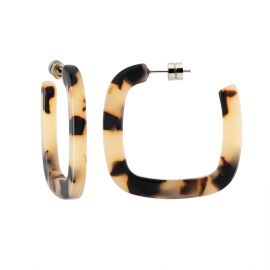Midi Square Hoops in Blonde Tortoise - Machete