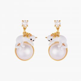Kitten And Pearl Stud Earrings Les néréides loves animals -