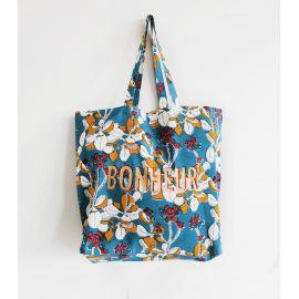 Tote Bag imprimé Moutarde/bleu BONHEUR IRIS - Jamini