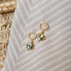 Boucles d'oreilles mini créoles abalone Talisman - Olivolga
