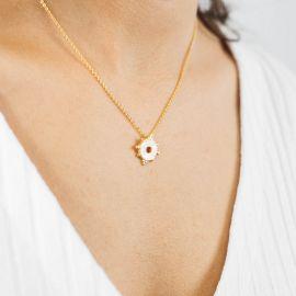 Collier pendentif nacre blanche Talisman - Olivolga