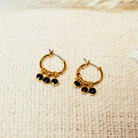 Boucles d'oreilles mini créoles 3 pampilles noires Confettis - Olivolga Bijoux