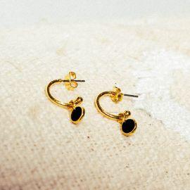 Mini creole earrings/black Confettis - Olivolga Bijoux