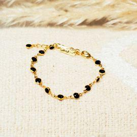 Bracelet fermoir mousqueton noir Confettis - Olivolga Bijoux