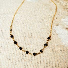 Collier chaine émaillée noire Confettis - Olivolga Bijoux