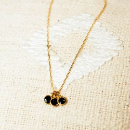 Collier 3 pampilles noires Confettis - Olivolga Bijoux