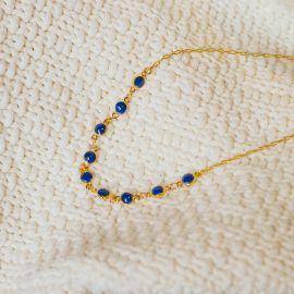 Collier chaine émaillée bleue Confettis - Olivolga Bijoux