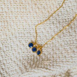 Collier 3 pampilles bleues Klein Confettis - Olivolga Bijoux