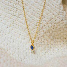 Collier court pampille bleue Confettis - Olivolga Bijoux