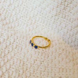 3 disc ring/blue Confettis - Olivolga Bijoux