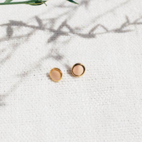 CONFETTIS boucles d'oreilles puces rose poudré Confettis