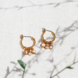 CONFETTIS boucles d'oreilles mini créoles 3 pampilles rose poudré Confettis - Olivolga