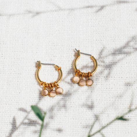 CONFETTIS boucles d'oreilles mini créoles 3 pampilles rose poudré Confettis