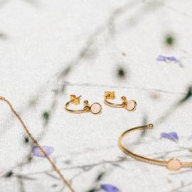 CONFETTIS boucles d'oreilles mini créoles rose poudré Confettis - Olivolga
