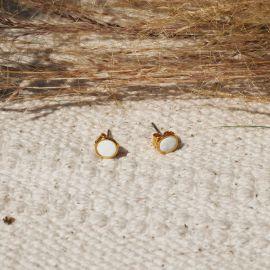 CONFETTIS boucles d'oreilles puces blanc crème Confettis - Olivolga
