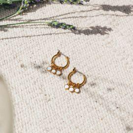 CONFETTIS mini hoop earrings/ecru Confettis - Olivolga Bijoux
