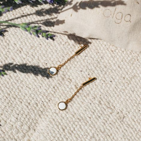 CONFETTIS tube post earrings/ecru Confettis