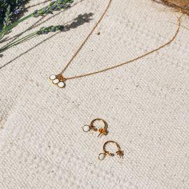 CONFETTIS mini creole earrings/ecru Confettis - Olivolga Bijoux