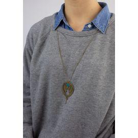 Collier long bleu canard VENUS - Amélie Blaise
