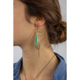Boucles d'oreilles dormeuses PÉTALES Céladon - Amélie Blaise