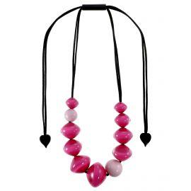 Adjustable necklace 11 pink resin beads MALAI - Zsiska