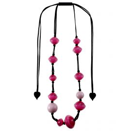 Long adjustable necklace with pink pearls MALAI - Zsiska