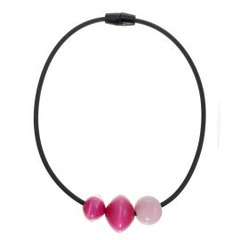 Magnetic clasp necklace 3 pink pearls MALAI - Zsiska