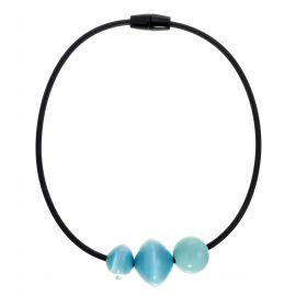Collier fermoir aimant 3 perles bleues MALAI - Zsiska