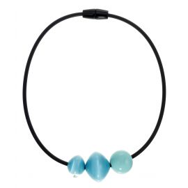 Magnetic clasp necklace 3 blue pearls MALAI - Zsiska
