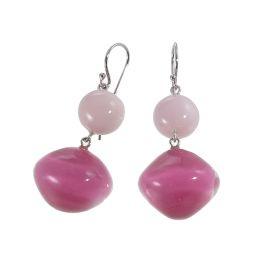 Boucles d'oreilles crochet 2 perles roses MALAI - Zsiska