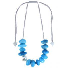 Collier ajustable 13 perles en nuances de bleus CAPRI - Zsiska