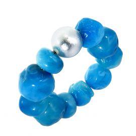 Bracelet extensible perles résine nuances de bleus CAPRI taille M - Zsiska