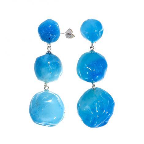 Boucles d'oreilles poussoir 3 boules nuances de bleus CAPRI