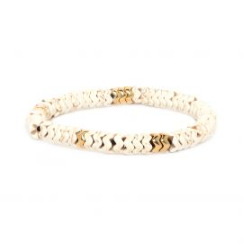 Bracelet extensible howlite métal doré à l'or fin - WAVE - Franck Herval