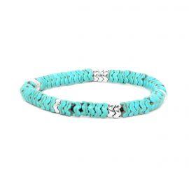 Bracelet extensible howlite bleue métal argenté - WAVE - Franck Herval