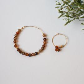 Créoles dépareillées perles 6mm-agate feu brown - Rosekafé