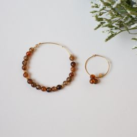 Umpaired hoop earrings 6mm-fire agate brown - Rosekafé