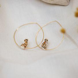 Mini sitting leopard hoop earrings - Nach