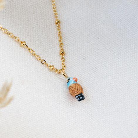 Chubby blue bird necklace