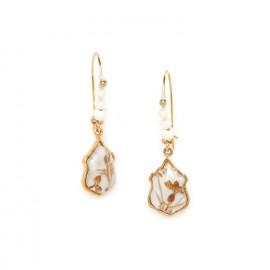 beaded hook earrings with medallion Abelha - Franck Herval