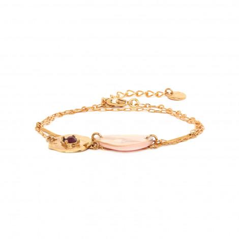 bracelet 2 tours fermoir mousqueton Coralie
