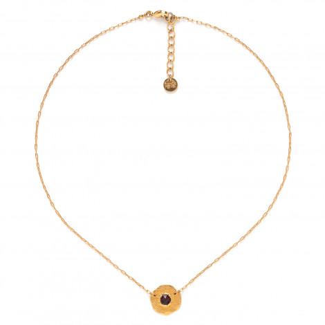 collier pastille dorée à l'or fin Coralie