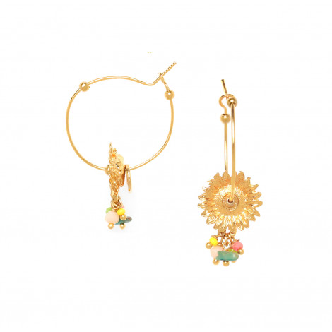 sunflower creoles with beads Felicie