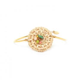 articulated bracelet with rattan disc Felicie - Franck Herval